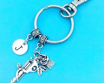Rose Gun Keychain, Rose Pistol Key Chains, Custom Any Charm, Rose Pistol Keyring, Personalized Keychain, Pistol Key Rings, Charm Keychain