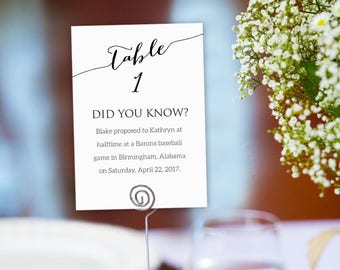 Tables 1-40 Fun Facts Printable Templates, Table Numbers Seating Template, Did You Know Couple's Random Facts Table Cards Printable, #BT104