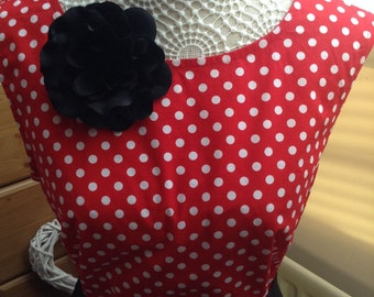 """Lady's red and white polka dot """"Millicent"""" cotton top, custom sizes"""