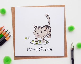 Cat Christmas Card Hand Drawn | Christmas Cat Card, Cat Lover Christmas, Cute Cat Christmas Card, Cat Art Christmas Cards, Cards for Her