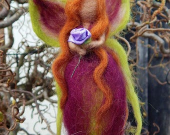 Fairy Queen in Purple and Green mobile Handmade Needle felted waldorf style fairy OOAK
