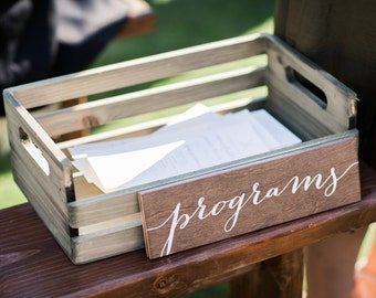 Programs Sign - Wooden Wedding Signs - Wood