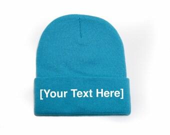 Custom Beanie, Custom Beanies, Custom Embroidered Beanie, Custom Beanie Hat, Turquoise