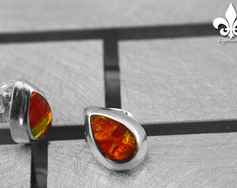 SMOPL003 Taxco .925 Sterling silver accent post 'button' earrings, ORANGE OPAL  curved & modern style