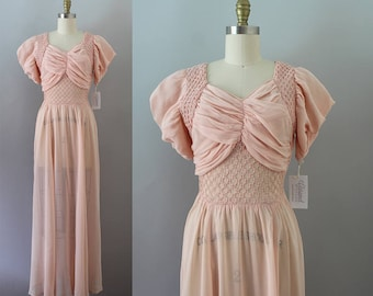 1930s Pink Gown / Vintage 30s Chiffon Dress / S