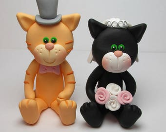Cat Wedding Cake Topper, Bride And Groom, Novelty Topper, Handmade