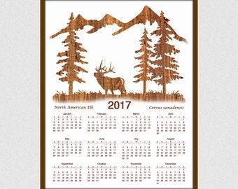 Elk Silhouette Calendar for 2017 - 12 Month Calendar - Nature Calendar ...