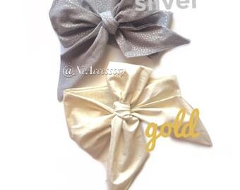 Bow Headwrap, Baby Girl Photo Prop, Baby Turban Hedband,  Silver Fabric Head Wrap, Silver Christmas Headwrap