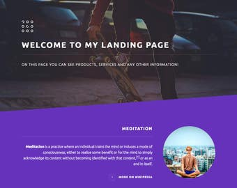 Landing Page template with easy CMS and 1gb free lifetime hosting