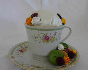 Teacup Pincushion,  Repurposed Teacup Pincushion, Teacup With Flowers,  Gift For Sewer, Pincushion, Sewing Room Decor, Gift For Quilter