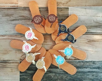 Monogrammed Sandals! Monogram Medallion Sandals! Hot Hot Hot new item!