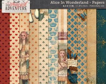 Letter Size Paper Pack, Alice In Wonderland, Cheshire Cat, Digital Scrapbooking, Instant Download, Blue Red Pattern Paper, Vintage Alice