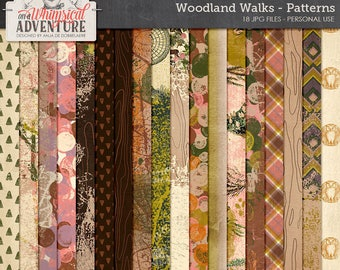 Autumn digital scrapbooking papers, digital download, 12x12, artsy patterns, mixed media, art journaling, woodland, forest, outdoors