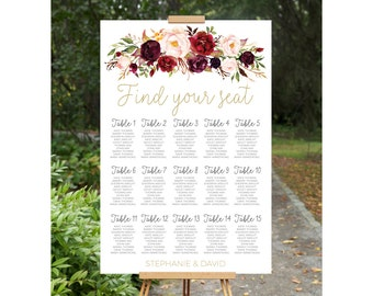 Wedding Seating Chart, Wedding Seating Plan, Printable Wedding Seating Chart, wedding seating chart, engagement seating chart, seating sign