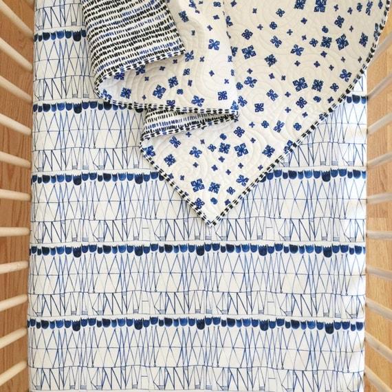 Crib Sheet >> Bluebird Tulips in Royal Blue >> MADE-to-ORDER navy baby bedding, indigo toddler sheet set, modern bassinet sheet, mini crib