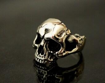 Skull Ring. Biking. 925. Silver Skull. Silver Ring. gothic. Jewelry, Silver, handmade ring, gothic ring, biker,  heavy metal,