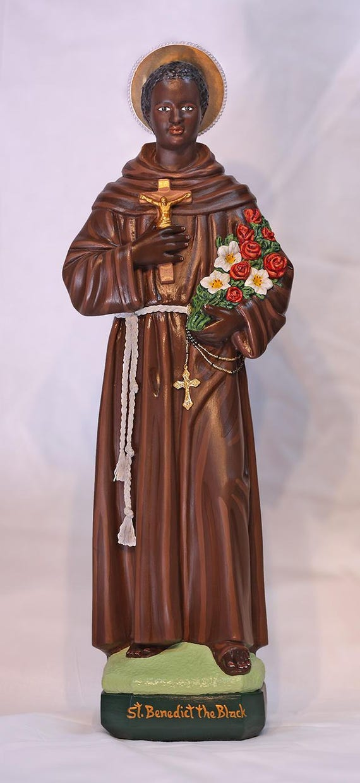 "St. Benedict the Black Moor San Benito de Palermo 25"" (SALE) Catholic Christian Religious Plaster Saints Statue"