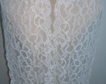 """2.5 yards ivory french lace trim (N89)/ 8.7""""wide stretch lace trim by the yard"""