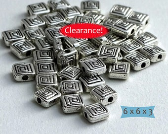 Silver Tone Pewter Square Spacer Beads Spiral Pattern--20 Pcs | 24-SU123-20