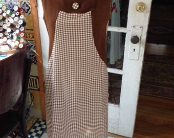50's brown/ivory linen/cotton gingham shift