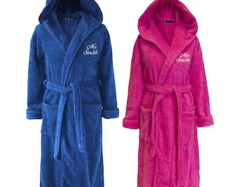 Personalised Set of Mr & Mrs Towelling Dressing Gowns, Mr and Mrs Pyjamas, His and Hers Wedding Gift Bride Groom - Hot Pink and Dark Blue