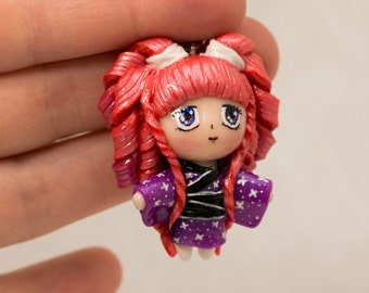 Kawaii chibi girl in Japanese kimono with pony tails. Polymer clay charm/necklace