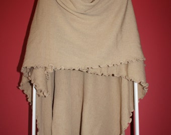 Ruffle Wrap Cape: Beige/Taupe/Ivory/Brown