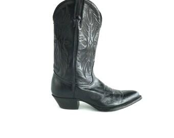Size 6 | Tony Lama Black Western Boots, Vintage Tony Lama Cowboy Boots Size 6