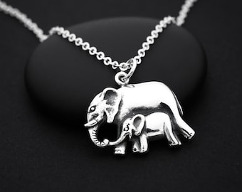 Mom and Baby Elephant Necklace, Sterling Silver Elephant Necklace, Mothers Day from Husband, New Mommy Necklace, Baby Elephant Necklace