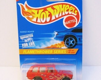 Hot Wheels Range Rover Flamethrower Series #3 Red Orange Mattel Die Cast Car 1/64 Scale Vintage 1995 Toy Car MOC #386 Card Flame Thrower