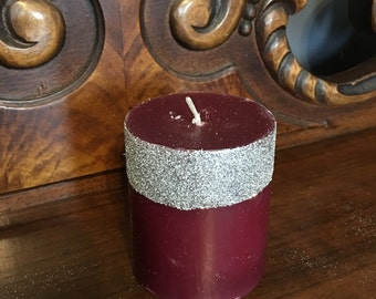 Candle, scented pillar candle, glitter candle, glitter pillar candle