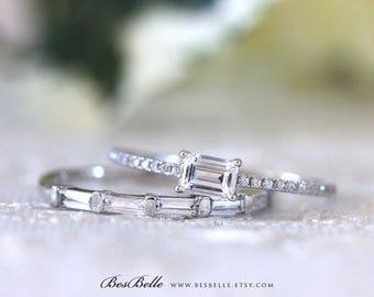 0.98 ct.tw Emerald Cut Engagement Ring W/ Baguette Cut Stone Half Eternity Wedding Ring-Bridal Ring-Sterling Silver [65417-2-1]