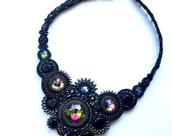 Black Necklace, Soutache Collar, Big Soutache Necklace, Glamour Necklace, Rainbow Necklace, Statement Necklace, Bold Necklace