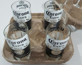 Set of 4 Corona Stubby Bottle Drinking Glasses - Recycled / Upcycled