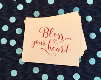 Bless Your Heart - Notecards and Envelopes - Set of 8 - Southern - Sassy - Handlettered - Red and White