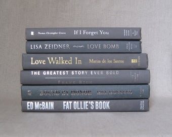 Book Bundle in Charcoal Gray, Decorative Book Set, Wedding Books