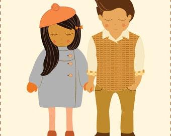Custom Couple / Friend / Two Person Squishy Portrait - Illustration Print