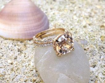 Wedding & engagement set Rose Gold Diamond Pink Morganite Engagement Ring and Diamonds Wedding Ring Set Solitaire ring erernity band unique