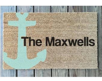 Nautical Door Mat // Personalized Door Mat // Anchor Door Mat //  Personalized