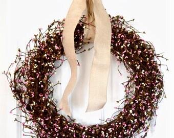 Summer Pip Berry Wreath | Front Door Wreath | Pink Wreath | Baby Shower Girl | Rustic Wreath | Housewarming Gift