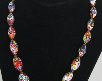 Cloisonne Flower Necklace with Barrel Screw Clasp