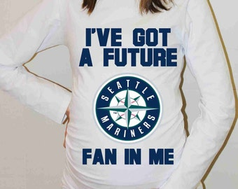 Seattle Mariners Shirt Seattle Mariners Baseball Long Sleeve Maternity Shirt Pregnancy Baby Shower