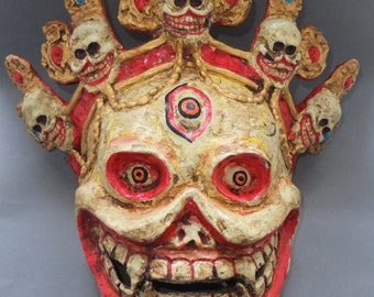 Large Ritual Buddhist Citipati Lord of Cemetery Paper Mache Mask from Bhutan, Ceremonial Dancing Mask, FREE SHIPPING