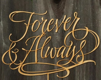 Forever & Always Wedding Cake Topper 8inches | Calligraphy | Handlettered | Laser Cut Cake Topper by Woodword Design Studio