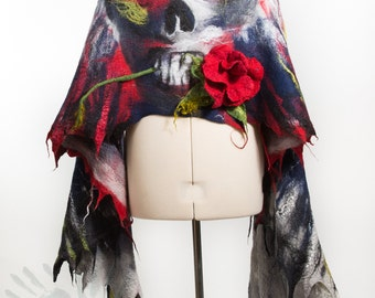 Monkey Skull in flames with a rose in the teeth shawl /Wings Silk shawl / Nuno felting scarf / Handmade felted / Multi-Color  Free shipping.