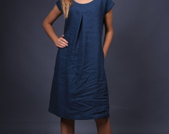 Linen dress / washed linen dress / linen dress in navy blue / linen top / Summer dress / linen dress with decoration