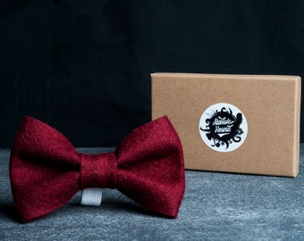 Dog Bowtie - Collar accessories - Handmade felt bow tie - idea gift for dogs and puppies - Dark Red