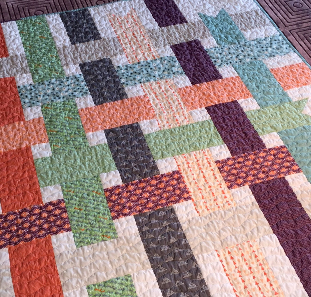 Modern Woven Looks Like A Ribbon Quilt Throw By Quiltyshop