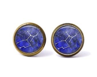 Virgo Constellation Stud Earrings | Virgo Earrings Constellation Jewelry Galaxy Earrings Zodiac Earrings Outer Space Star Sign Astrology