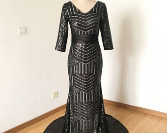 Mermaid V-neck Black Sequin Long Prom Dress Bridesmaid Dress Long Sleeves